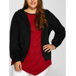 Buy BLACK, Apparel, Women's Clothing, Plus Size, Plus Size Outerwear for $25.16 in GearBest store