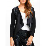 Faux Leather Spliced Knitted Jacket - BLACK