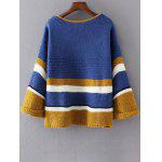 Loose Colorful Color Block Sweater - BLUE
