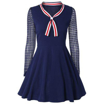 Buy CADETBLUE Bow Tie Collar Lace Spliced A-Line Dress for $21.34 in GearBest store
