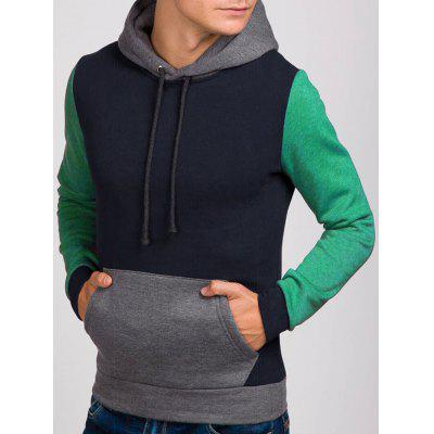 Contrast Color Kangaroo Pocket Drawstring Hoodie