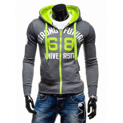 Graphic Print Emboss Hooded Zip-Up Hoodie