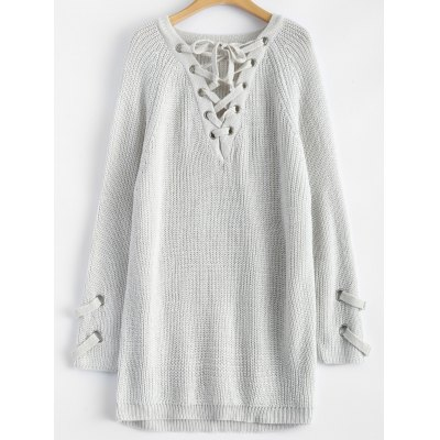 Chunky Lace-Up Longline Maglione
