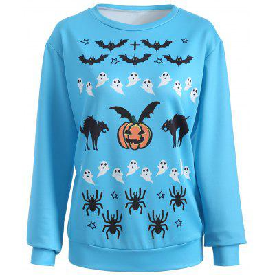 Halloween Bat Pumpkin Print Sweatshirt