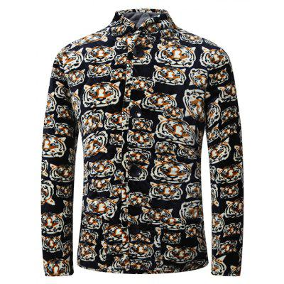 3D Tiger Print Stand Collar Quilted Jacket