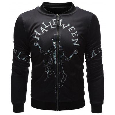 Skeleton Printed Zip Up Halloween Jacket
