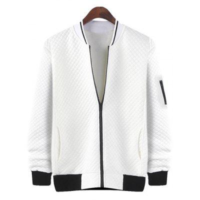 Rhombus Pattern Zip Up Jacket