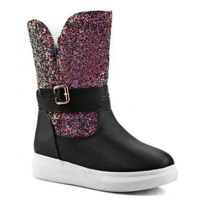 Flat Sequined Mid Calf Boots