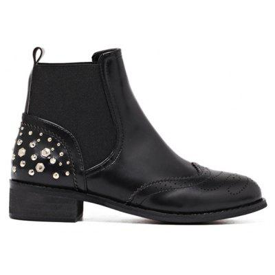 Rivet Engraving PU Leather Short Boots