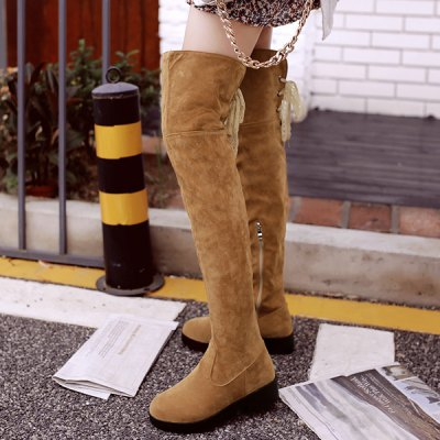 Zipper Flat Heel Thigh Boots