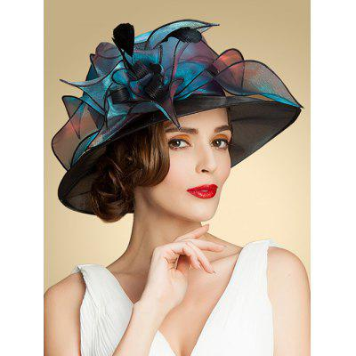 Summer Church Organza Flat Fedora Sun Hat