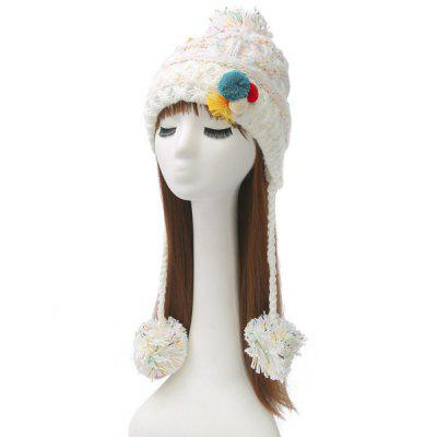 Winter Cirss Cross Knitted Colorful Ball Tassel Beanie