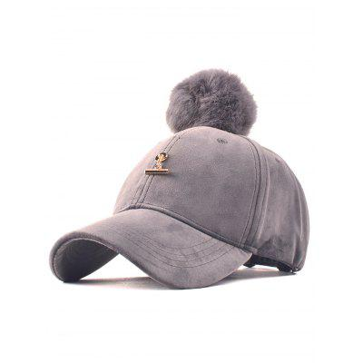 Winter Fur Pom Ball Pleuche Baseball Hat