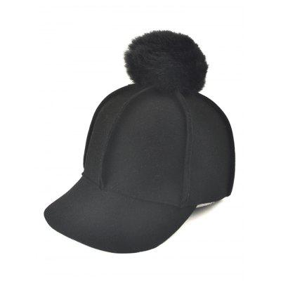 Wool Felt Ribbed Fuzzy Ball Baseball Hat