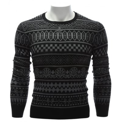 Crew Neck Ethnic Style Geometric Graphic Sweater