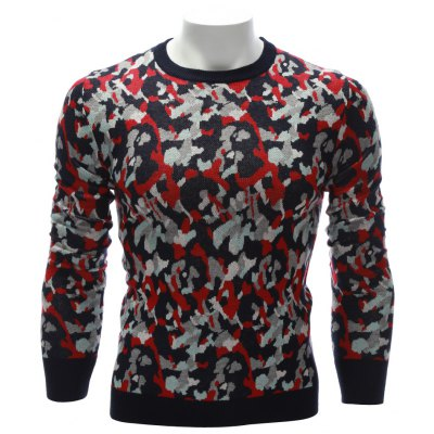 Crew Neck Color Block Camouflage Sweater
