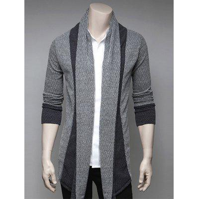 Color Block Splicing Turndown Collar Cardigan