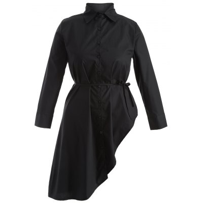 Plus Size Long Sleeve Asymmetrical Shift Dress