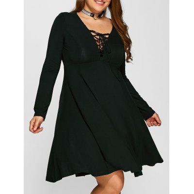 Buy BLACK 2XL Plus Size Lace-Up Bodice Empire Waist Dress for $19.56 in GearBest store