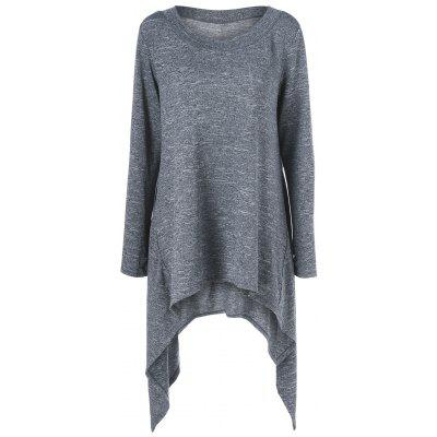 Buy DEEP GRAY Thumb Hole Asymmetrical Sweater for $21.87 in GearBest store