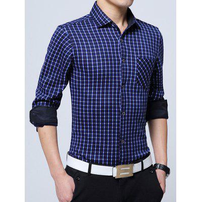 Button Up Chest Pocket Flocking Gingham Shirt