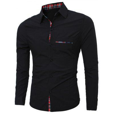 Plaid Edging Splicing Long Sleeve Shirt