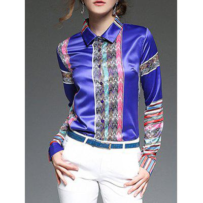Buy BLUE Colorful Stripe Patched Slim Fit Satin Shirt for $28.44 in GearBest store