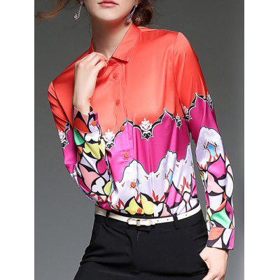 Color Block  Satin Shirt