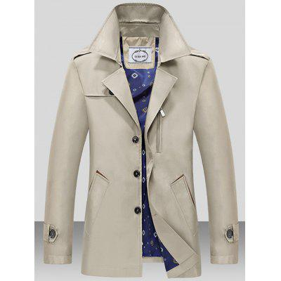 Turndown Collar Single Breasted Epaulet Wind Coat