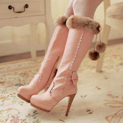 High Heel Scalloped Pompon Mid Calf Boots