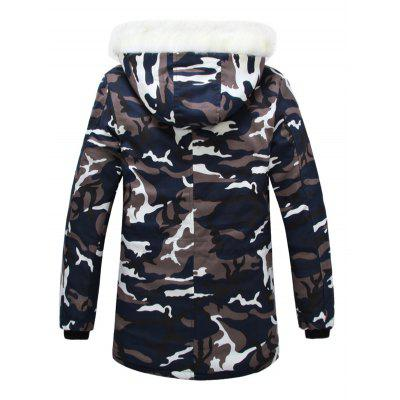 Zip Camouflage Hooded Coat Padded Up Fur OOxnqpArw