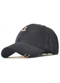 Casual Iron Ring Pleuche Baseball Cap
