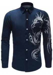 Tattoo Printed Button Up Shirt
