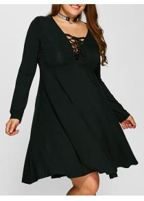 Plus Size Lace-Up Bodice Empire Waist Dress