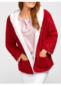 Christmas Hooded Fuzzy Coat