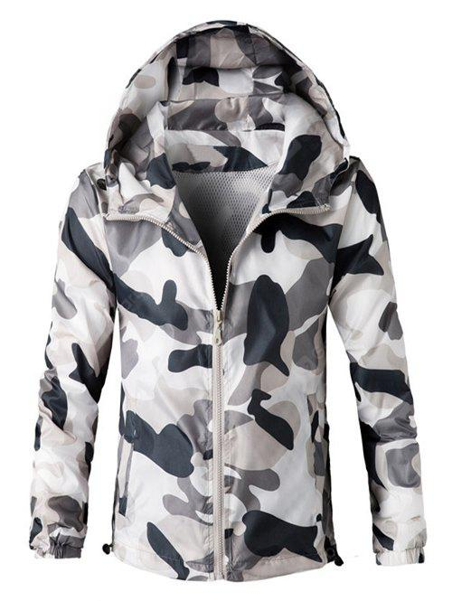 Zip Hooded Camouflage Lightweight Jacket GRAY