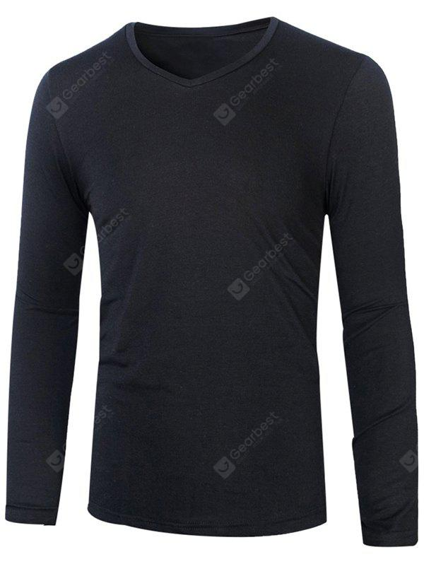 BLACK Slim Fit V Neck Long Sleeve T-Shirt