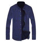 cheap Button Up Chest Pocket Flocking Gingham Shirt