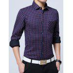 Button Up Chest Pocket Flocking Gingham Shirt - RED