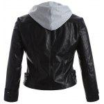 Buy Plus Size Panel Hooded Faux Leather Jacket 3XL BLACK