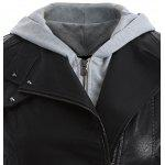 Plus Size Panel Hooded Faux Leather Jacket - BLACK