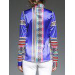 Colorful Stripe Patched Slim  Fit Satin Shirt - BLUE