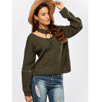 cheap Chunky Zipper Design Sweater with Knitted Choker