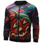 cheap Stand Collar 3D Halloween Pumpkin Lantern Print Jacket