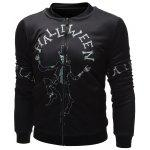 cheap Skeleton Printed Zip Up Halloween Jacket