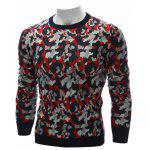 cheap Crew Neck Color Block Camouflage Sweater