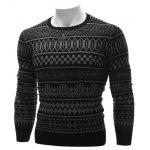 cheap Crew Neck Ethnic Style Geometric Graphic Sweater