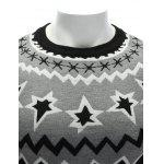 Crew Neck Color Block Waviness Graphic Sweater for sale