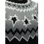 Crew Neck Color Block Waviness Graphic Sweater photo