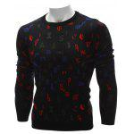 cheap Crew Neck Color Block Symbol Graphic Sweater